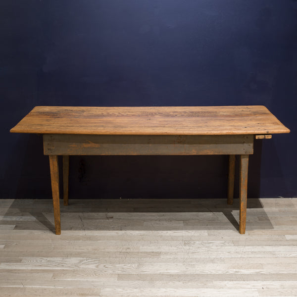 Mid 19th c. Primitive Two Plank Scrubbed Farmhouse Table c.1850