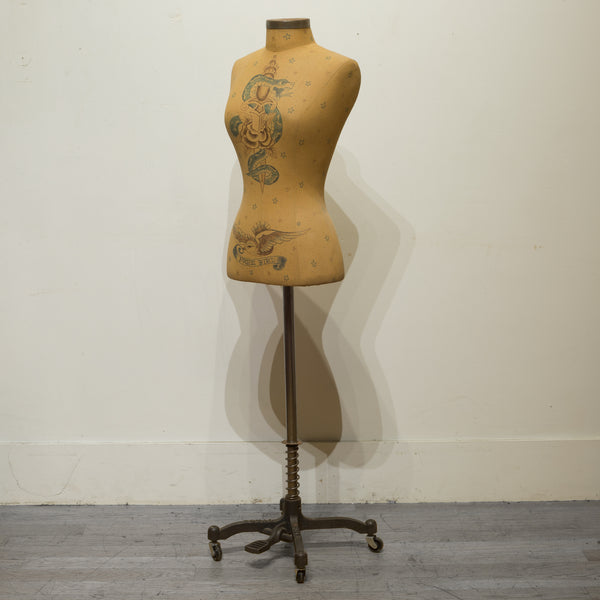 Adjustable Tattooed Female Mannequin on Antique Style Base