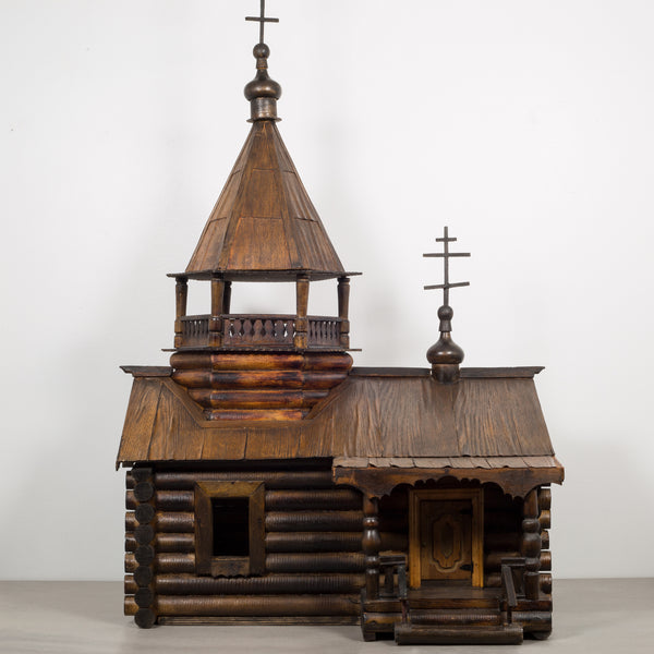Wooden Russian Orthodox Church Log Cabin Model c.1900-1930