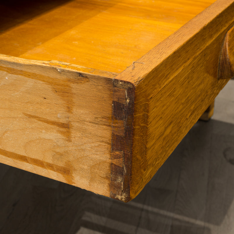 Solid Oak Two Drawer Desk with Brass Feet c.1940
