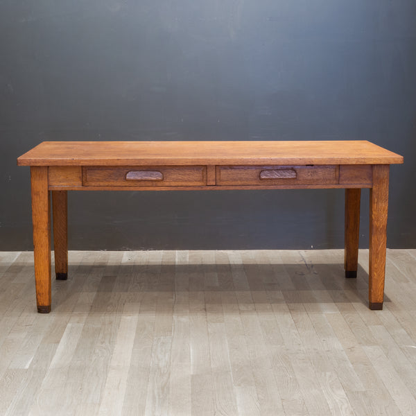Solid Oak Two Drawer Desk by Standard Furniture Co. c.1940