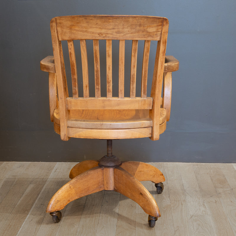 Antique Swivel Oak Desk Chair c. 1940