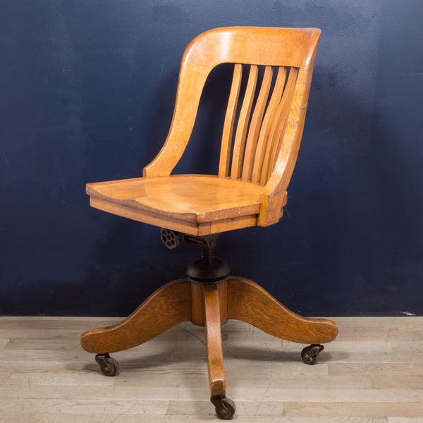 Antique Tiger Oak Swivel Desk Chair c.1900-1920