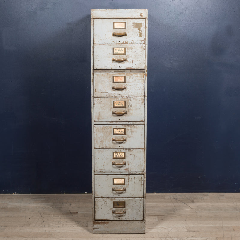 Library Bureau Sole Makers Industrial Factory 8 Drawer Steel File Cabinet c.1940