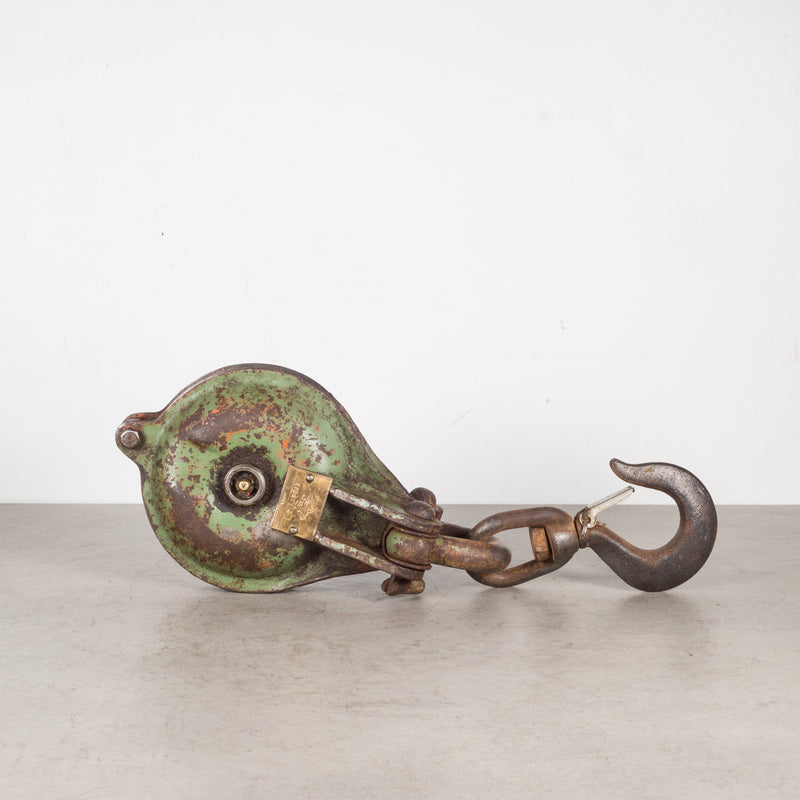 Antique Steel Pulley with Brass Plate c.1900-1930