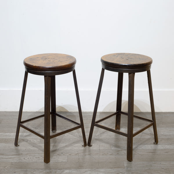 Pair of Steel and Walnut Counter Stools