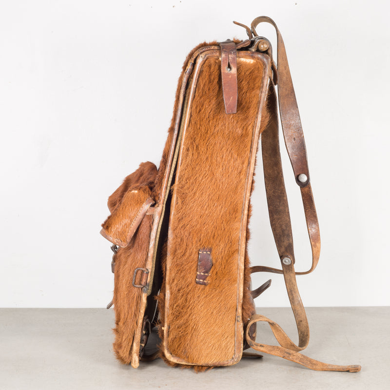 Early 20th c. Swiss Army Cowhide/Leather Backpack c.1945