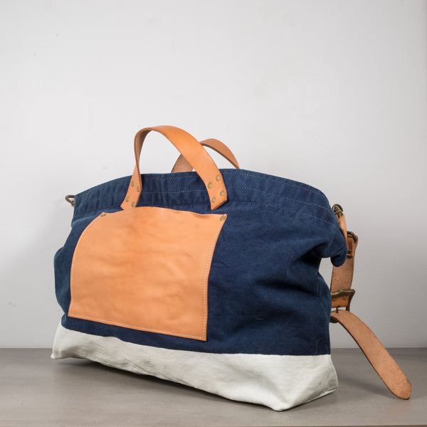 The Superior Labor Leather and Canvas Shoulder Bag in Indigo and Natural