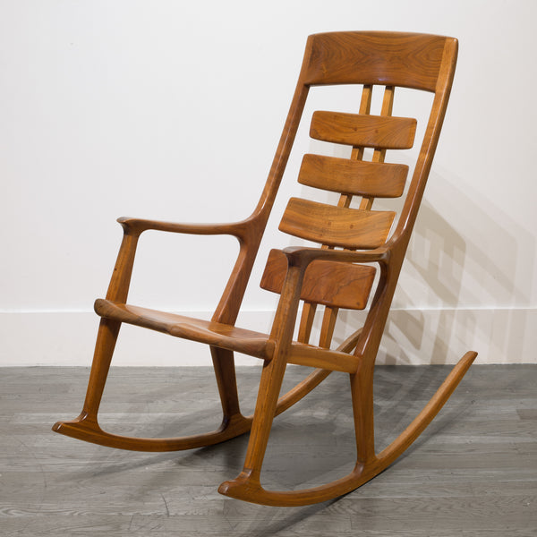 Hand Made Thomas Saydah Mixed Wood Rocker/ Rocking Chair c.1988