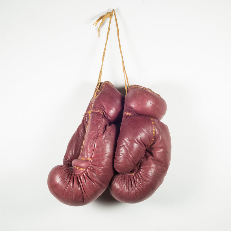 Trophy Brand Leather and Horse Hair Boxing Gloves c. 1950