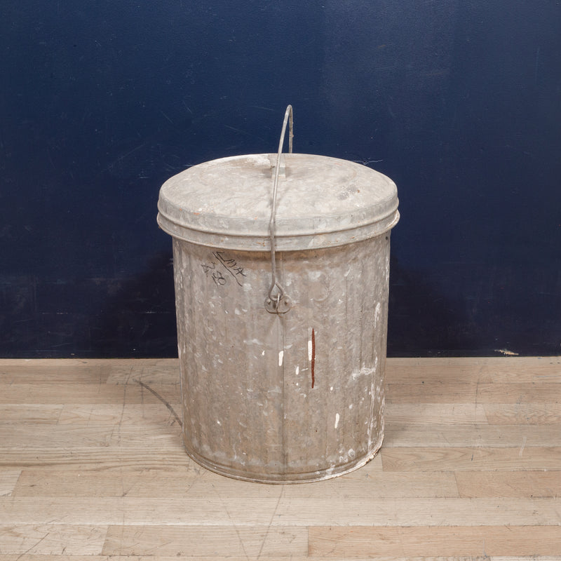 Antique Small Galvanized Steel Trash Can with Handle c.1940