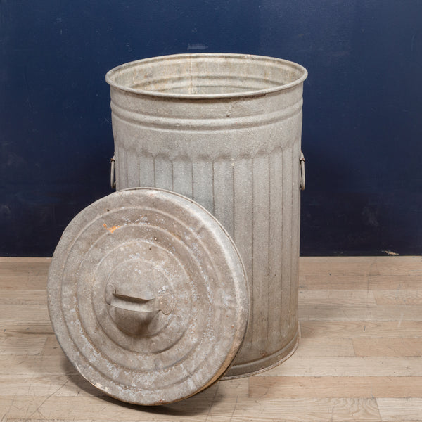 Antique Galvanized Steel Trash Can c.1940