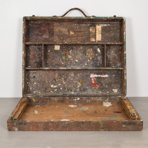 Distressed Wooden Artist's Paint Box c.1890