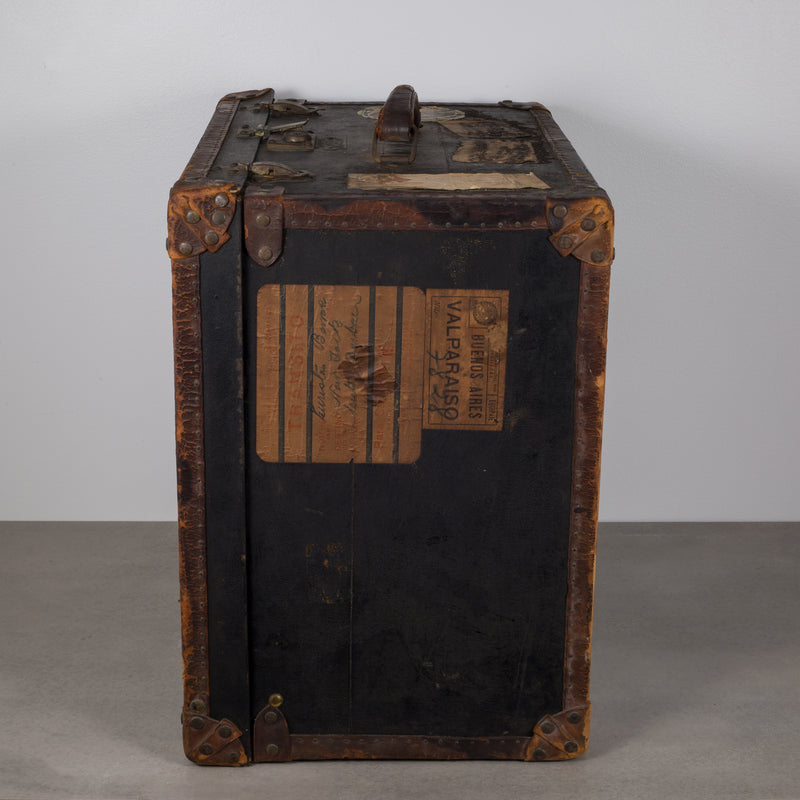 Antique Old England Leather and Brass Luggage with Original Travel Stickers c. 1900-1930