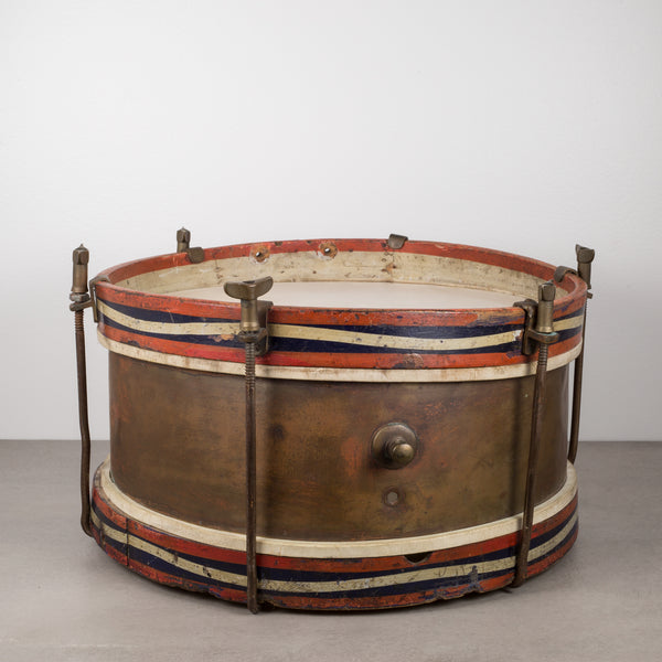 Wood, Brass and Calfskin Snare Drum c.1920