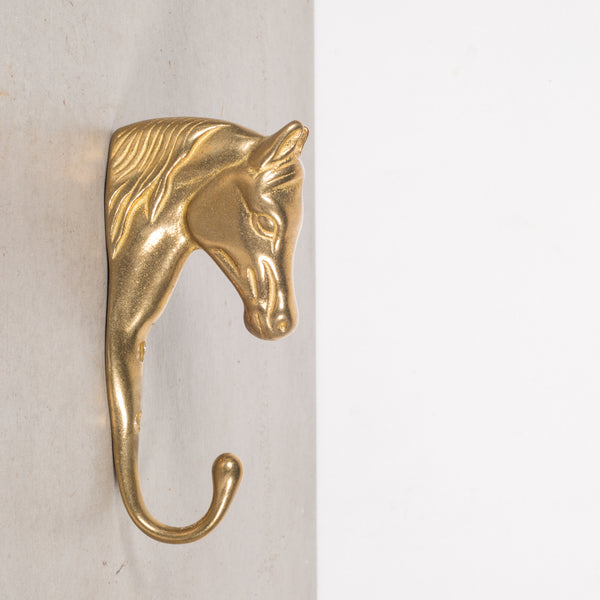Vintage Brass Horse Coat Hook