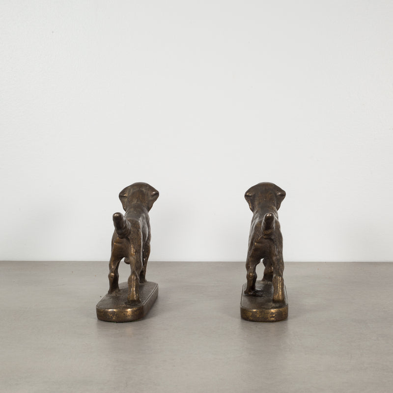 Bronze-Plated Pointer Dog Bookends, c.1940
