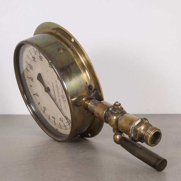 Early 20th c. Italian Brass and Bakelite Pressure Gauge c. 1920