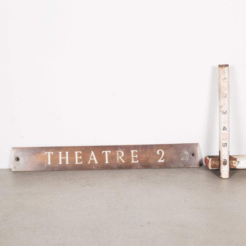 Solid Bronze and Enamel Theatre Sign c.1920