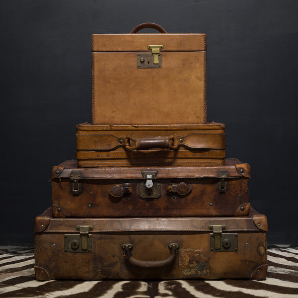 Brown Leather Suitcase with Brass Locks c.1940