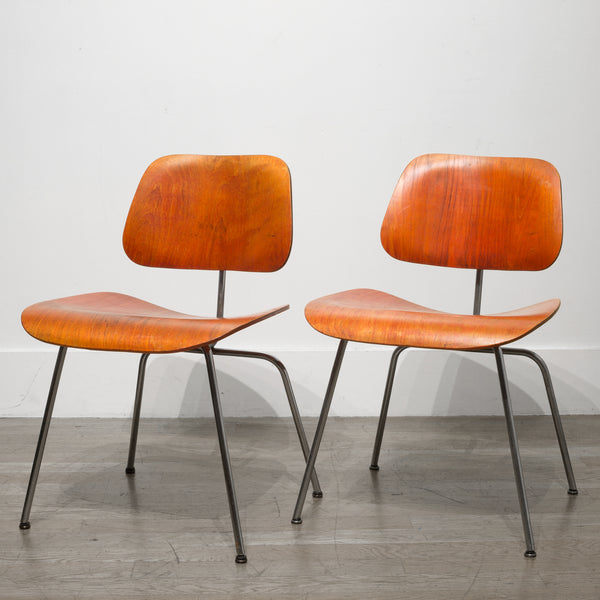 Rare Red Aniline Herman Miller DCM Chairs c.1950-1960