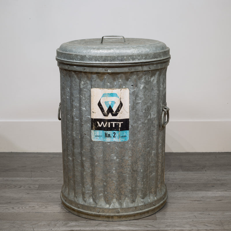 "Antique Galvanized Steel ""Witt No. 2"" Waste Can c.1910"