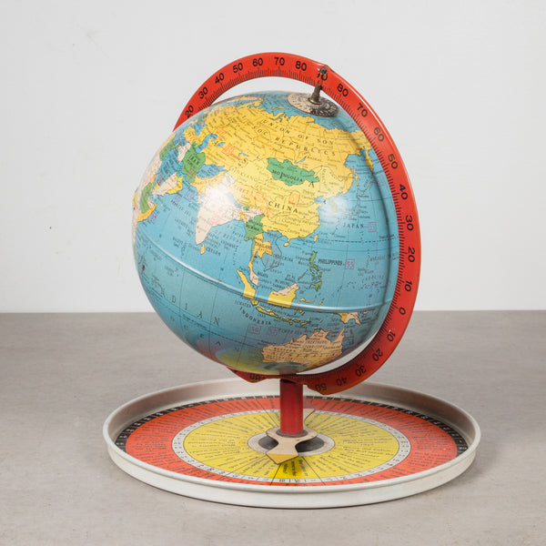 Antique Metal Replogle Travel Game Globe c.1950