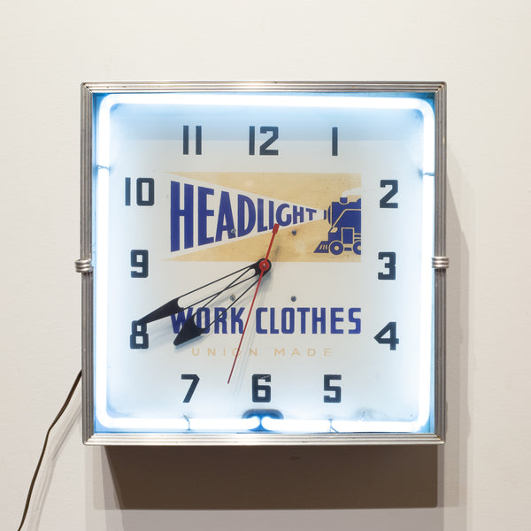 Headlight Work Clothes Union Made Neon Wall Clock c. 1949