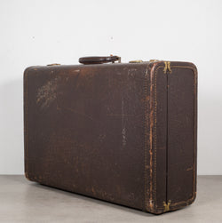Vintage Leather Overnight Luggage with Herringbone Interior C.1940