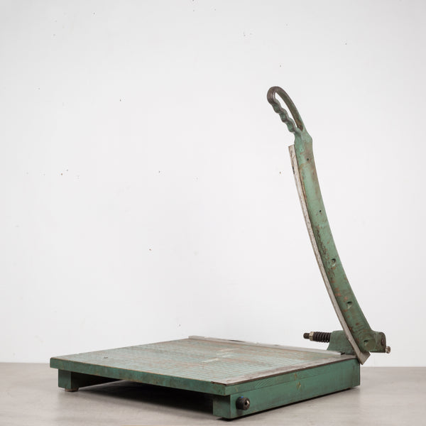 Large Cast Iron and Wood Guillotine Paper Cutter c.1940