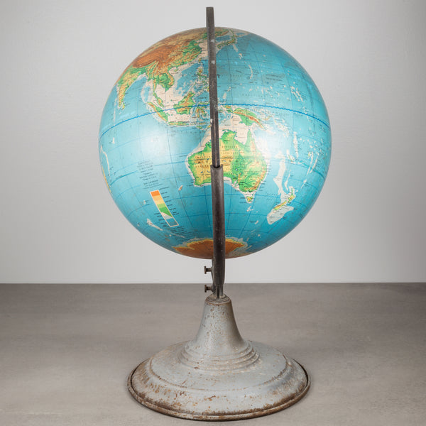 Physical/ Political Globe on Stand by Denoyer-Geppert c.1956