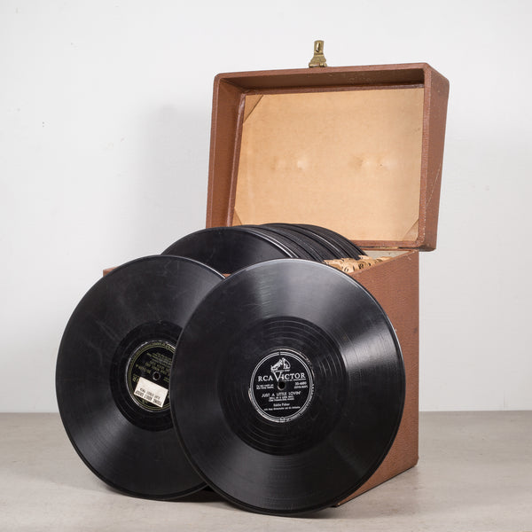Collection of Vintage Records in Case c.1940-1950