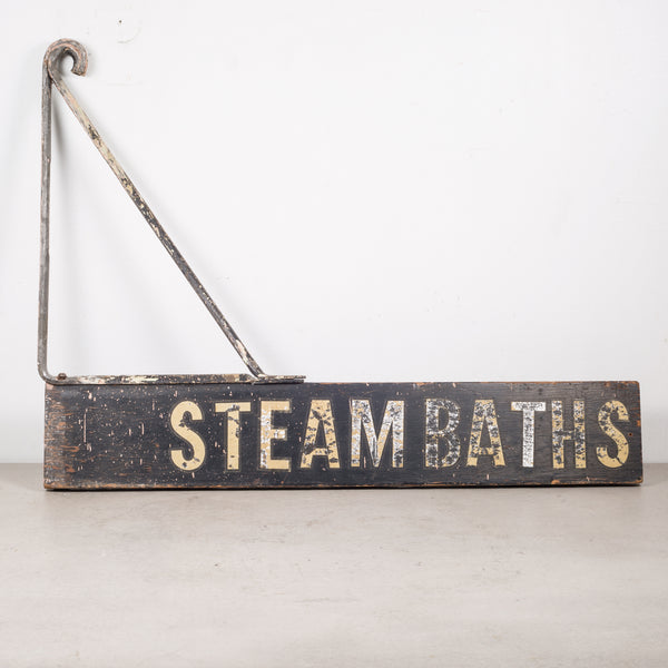 "Vintage Mounted ""Steambaths"" Sign c.1950"