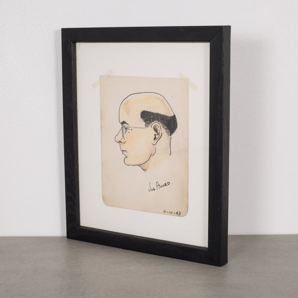 "World War Era Sketched Profile of Man Title ""Joe Pinard"" by J. Thomas c.1943"
