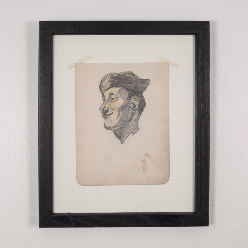 World War Era Sketched Profile of Sailor by J. Thomas c.1940