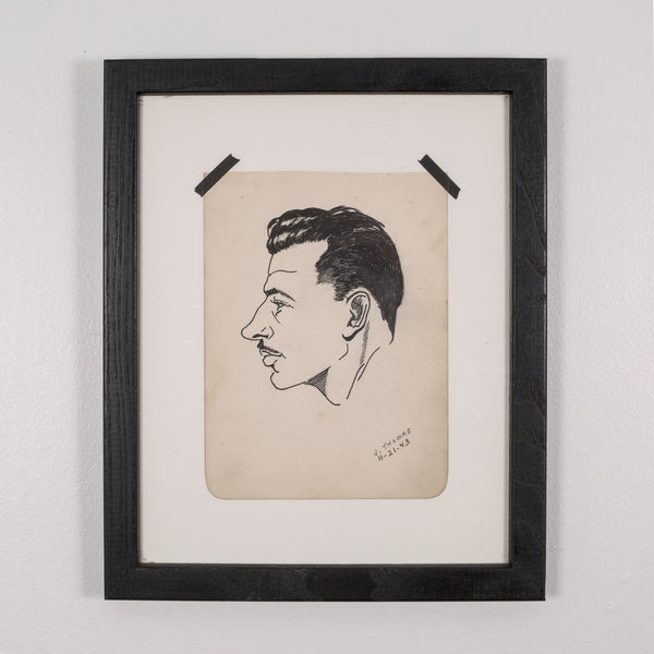 World War Era Sketched Profile of Man by J. Thomas c.1943