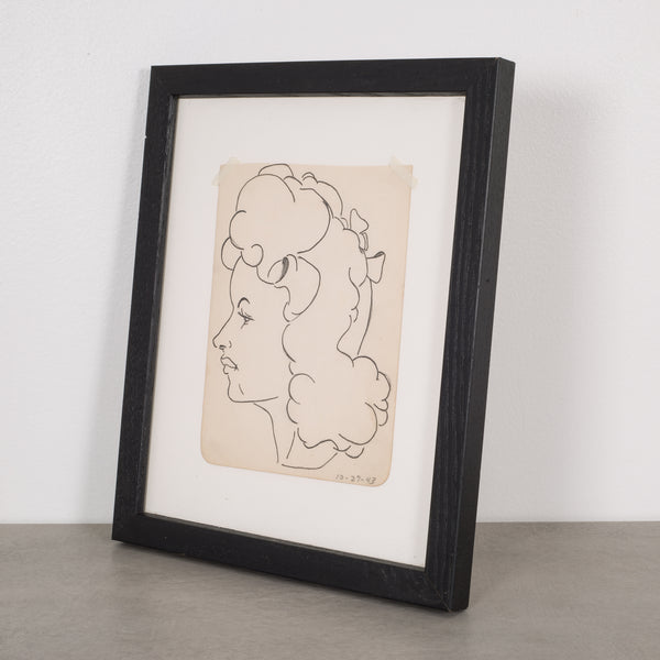 World War Era Sketched Profile of Woman by J. Thomas c.1943