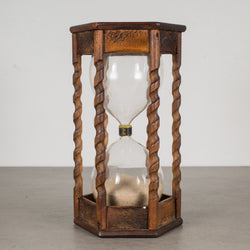 Vintage Spiral Wood Hourglass c.1940-1960