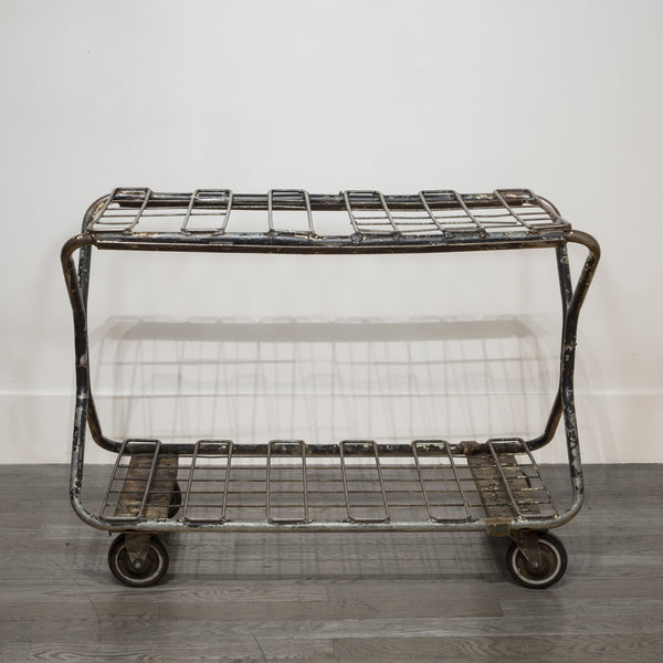 Factory Wire Metal Rolling Cart c.1930