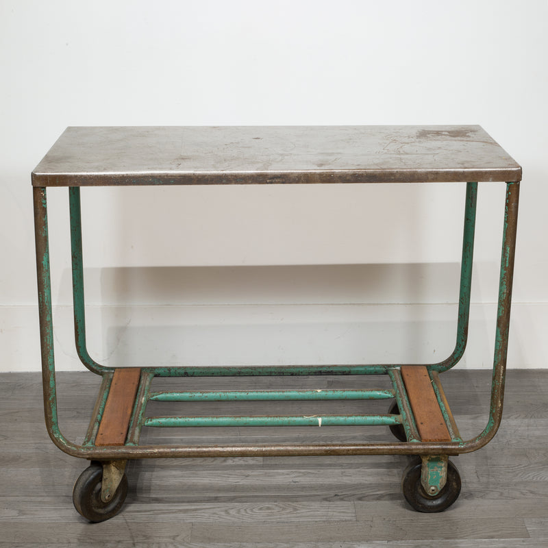 Early 20th c. Steel and Wood Factory Rolling Cart c.1940