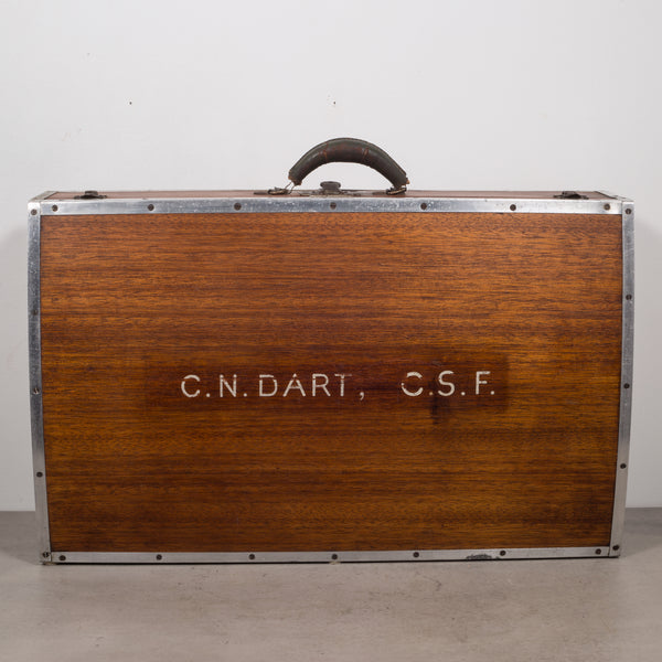 Wooden Suitcase with Leather Handle c.1940