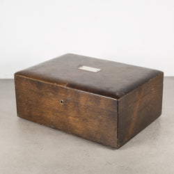 Vintage Walnut Humidor with Silver Nameplate c.1940-1970