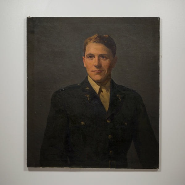 Untitled Oil on Canvas Portrait of WWii Serviceman c.1940