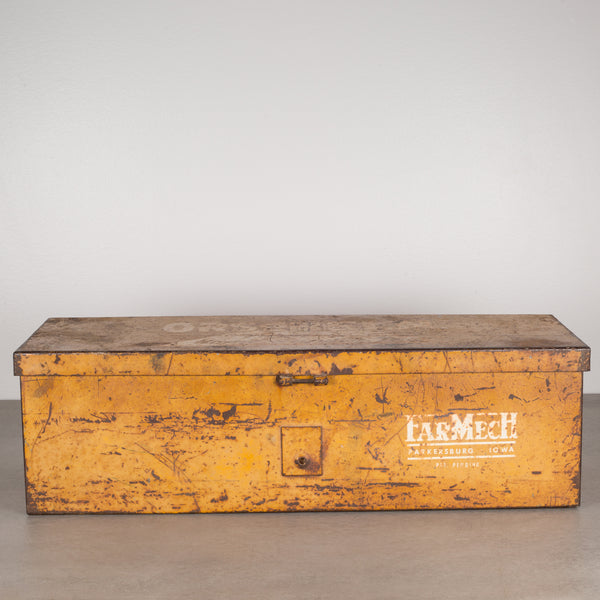 Distressed Steel Tractor Storage Tool Box, c.1960