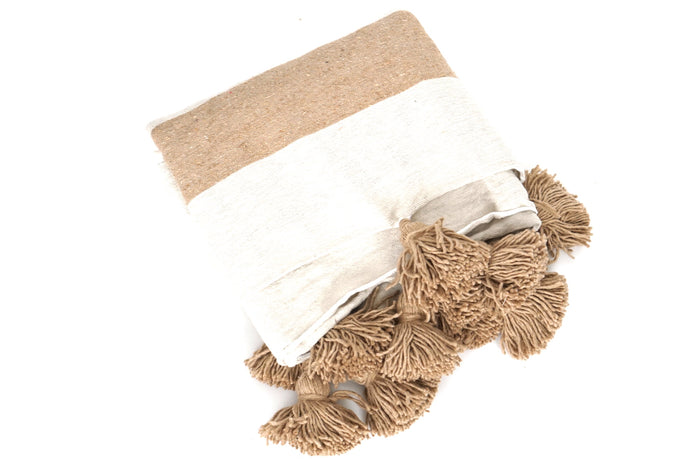 Beige Striped Pom Pom Blanket