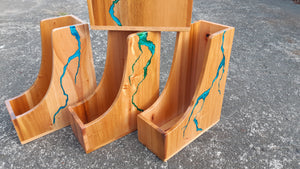Wooden File Holder with Resin