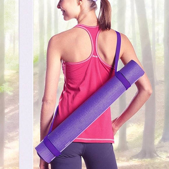 Easy Carry Yoga Mat Strap - purple mat strap worn by model