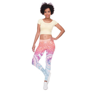 Pastel Multicolored Mandala Leggings - Full length