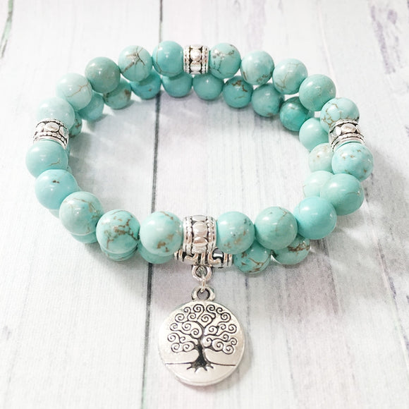 Tree of Life Stacked Mala Bracelet