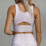 Leopard Summer Yoga Suit - White/Gray (from back)